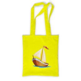 """Сумка с полной запечаткой """"Кораблик плывущий по волнам."""" - позитив, кораблик, море, парус, плыть"""