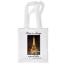 """Сумка с полной запечаткой """"Париж"""" - шоколад, париж, одри хепберн, paris, эйфелева башня"""