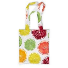 """Сумка с полной запечаткой """"Фруктовая"""" - киви, гранат, лимон, апельсин, фрукты"""