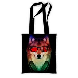 """Сумка с полной запечаткой """"Волк в очках"""" - арт, наушники, абстракция, волк, диджей"""