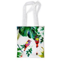 """Сумка с полной запечаткой """"попугаи"""" - листья, яркий, попугаи, тропики"""