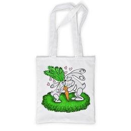 """Сумка с полной запечаткой """"Зайчишки с морковкой"""" - любовь, подарок, морковка, влюбленность, зайчишки"""