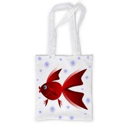 """Сумка с полной запечаткой """"Золотая аквариумная рыбка"""" - арт, золотая рыбка, аквариум, детская иллюстрация"""