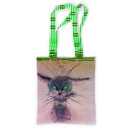 """Сумка с полной запечаткой """"кот и божья коровка"""" - кот, арт, юмор, рисунок, детский рисунок"""
