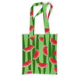 """Сумка с полной запечаткой """"Арбуз"""" - полоска, красный, ягода, зеленый, семена"""
