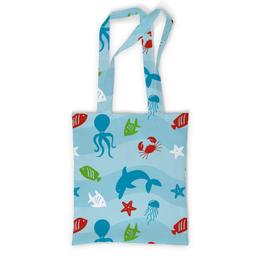 """Сумка с полной запечаткой """"Морская"""" - рисунок, осминог, медуза, дельфин, рыбф"""