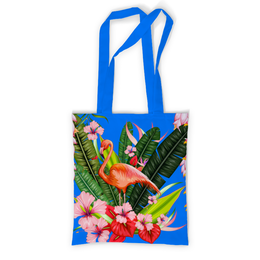 "Сумка с полной запечаткой ""Фламинго"" - фламинго, птица, цветы"