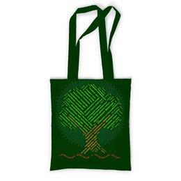 """Сумка с полной запечаткой """"Лозунг в защиту деревьев (неоновый)"""" - надписи, деревья, россия, природа, слова"""