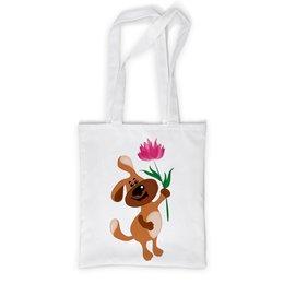 """Сумка с полной запечаткой """"Пес держит в лапе цветочек"""" - праздник, цветок, 8 марта, пес, подарок"""
