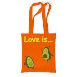 """Сумка с полной запечаткой """"Love is..."""" - сердце, любовь, фрукты, влюбленные, авокадо"""