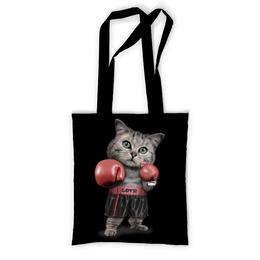 """Сумка с полной запечаткой """"Кот Боксёр"""" - приколы, спорт, бокс, коты"""