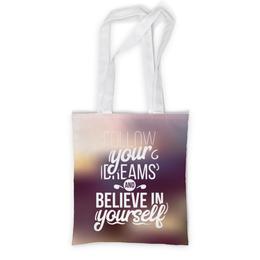 """Сумка с полной запечаткой """"Follow your dreams"""" - ретро, мечты, дизайн, текст, типографика"""