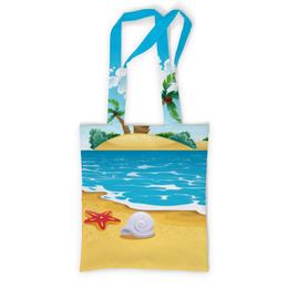 """Сумка с полной запечаткой """"Летний отдых"""" - море, пляж, ракушка, пальмы, морская звезда"""