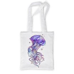 """Сумка с полной запечаткой """"Медуза"""" - иллюстрация, акварель, медуза, ручная графика"""