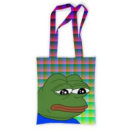 """Сумка с полной запечаткой """"SAD FROG"""" - юмор, мем, стиль, грустная лягушка, sad frog"""