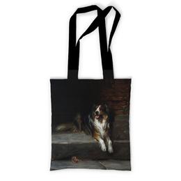 "Сумка с полной запечаткой ""Колли (картина Артура Вардля)"" - картина, собака, колли, черно-белый, артур вардль"