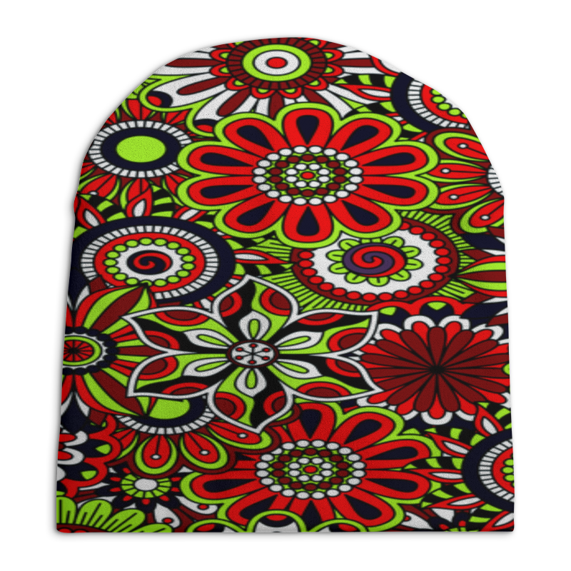 Шапка унисекс с полной запечаткой Printio Узор цветов шапка унисекс с полной запечаткой printio спиннер