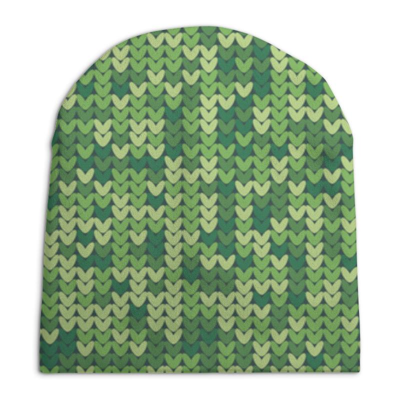 Шапка унисекс с полной запечаткой Printio Зеленый вязаный узор шапка унисекс с полной запечаткой printio геометрический узор