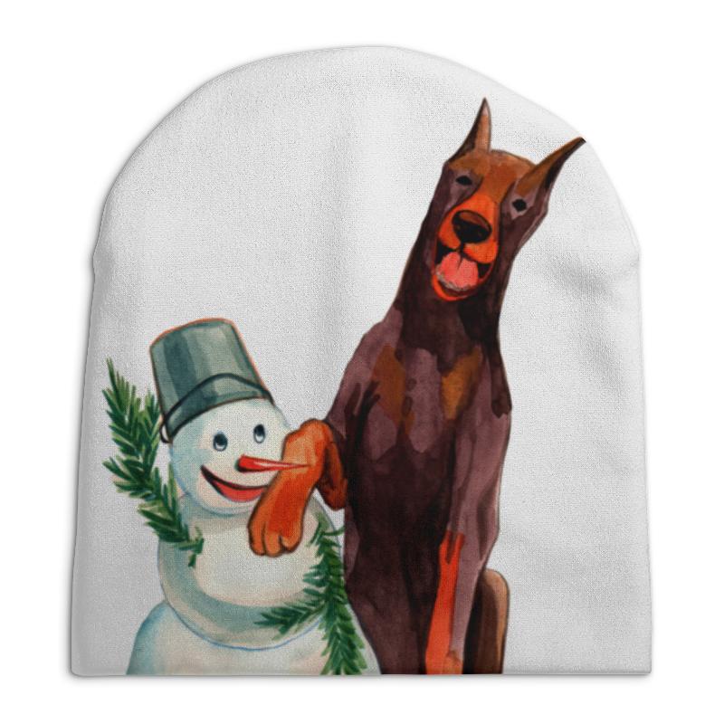 футболка с полной запечаткой для мальчиков printio забавная акварельная собака символ 2018 года Шапка унисекс с полной запечаткой Printio Забавная акварельная собака, символ 2018 года