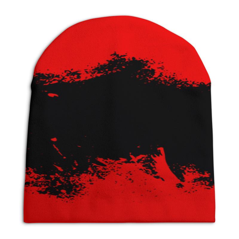 Шапка унисекс с полной запечаткой Printio Черно-красные краски цена