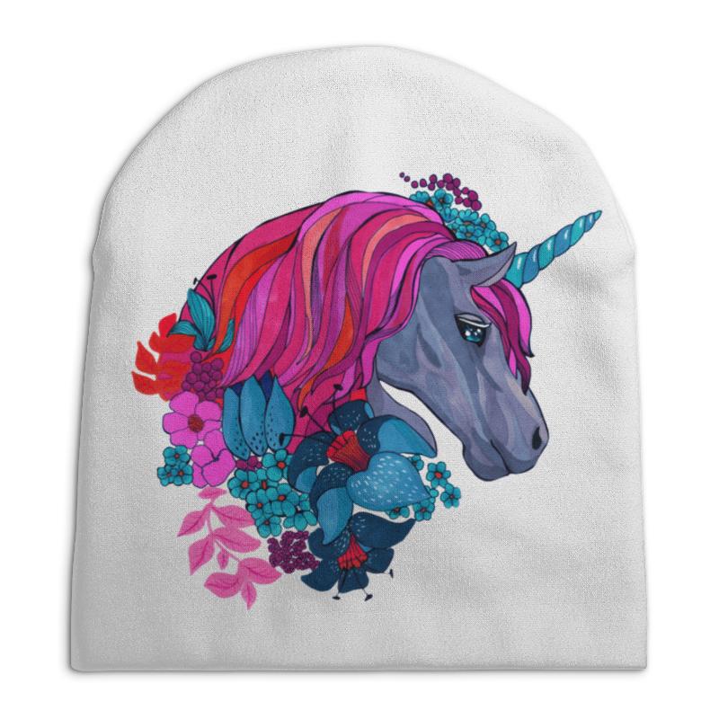 Шапка унисекс с полной запечаткой Printio Единорог с розовыми волосами в цветах детская футболка классическая унисекс printio единорог с розовыми волосами в цветах