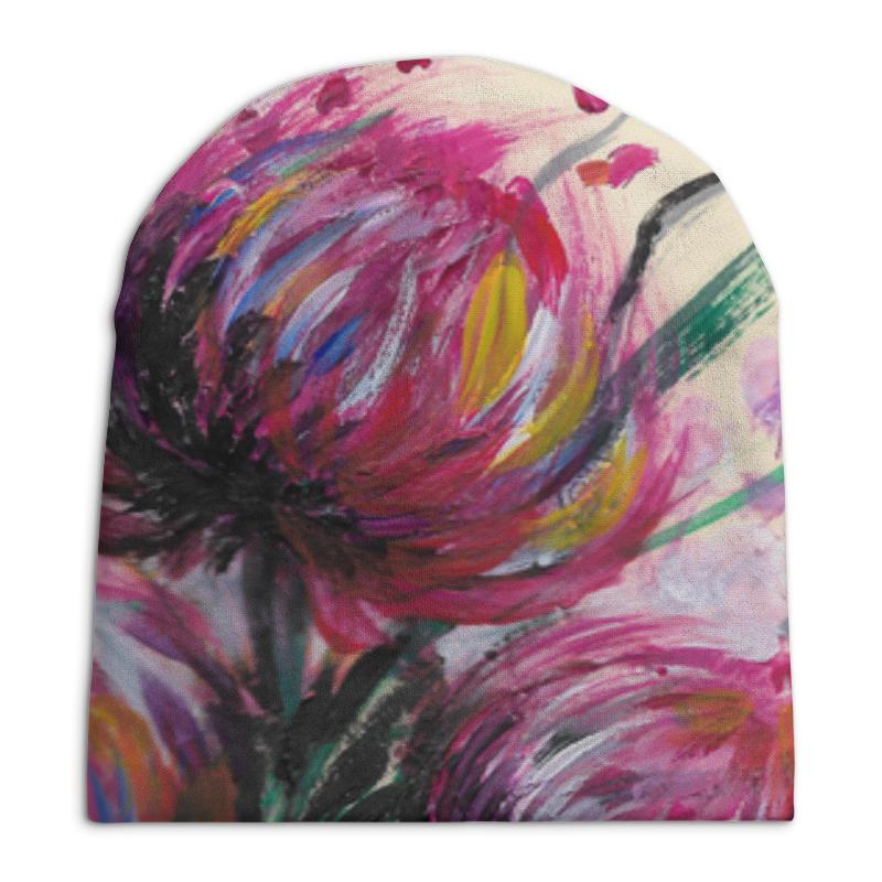 Шапка унисекс с полной запечаткой Printio Розовые хризантемы