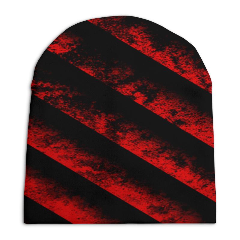 Шапка унисекс с полной запечаткой Printio Черно-красные полосы bebendorff ботинки зимние карл черно красные