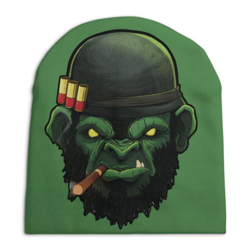 Шапка унисекс с полной запечаткой Printio War monkey / военная обезьяна купить шапка военная зимняя киров