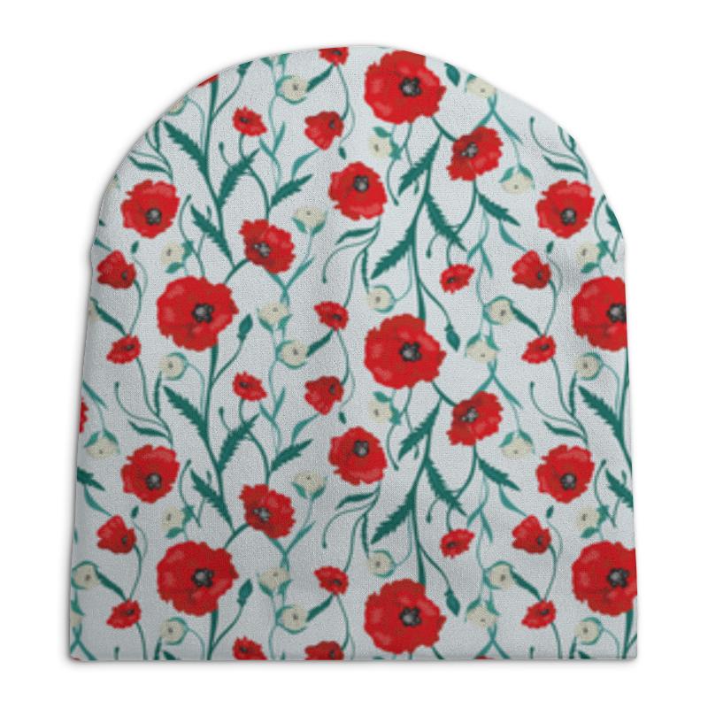 Шапка унисекс с полной запечаткой Printio Красные маки на белом фоне бомбер printio красные маки
