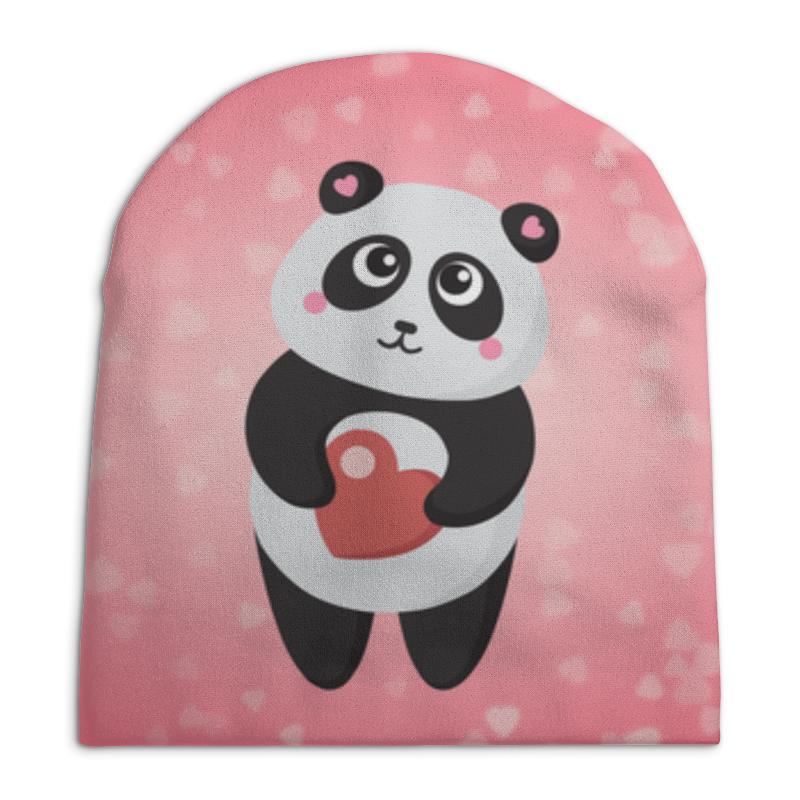 Шапка унисекс с полной запечаткой Printio Панда с сердечком позиционеры для сна candide позиционер с подголовником воздухопроницаемая панда air