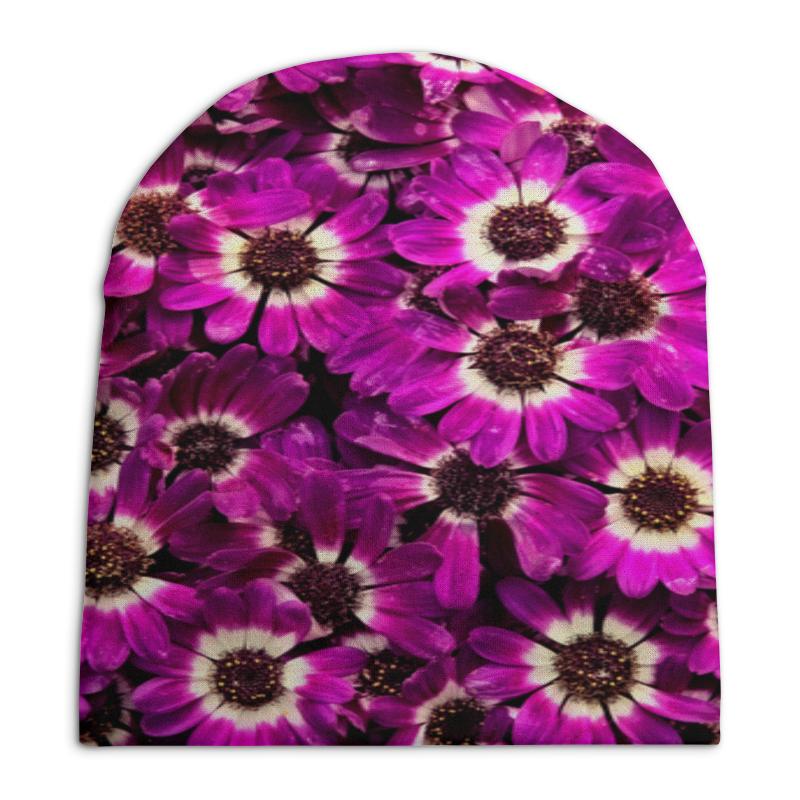 Шапка унисекс с полной запечаткой Printio Фиолетовые цветы