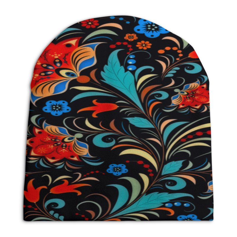 Printio Цветочная роспись шапка унисекс с полной запечаткой printio цветочная роспись