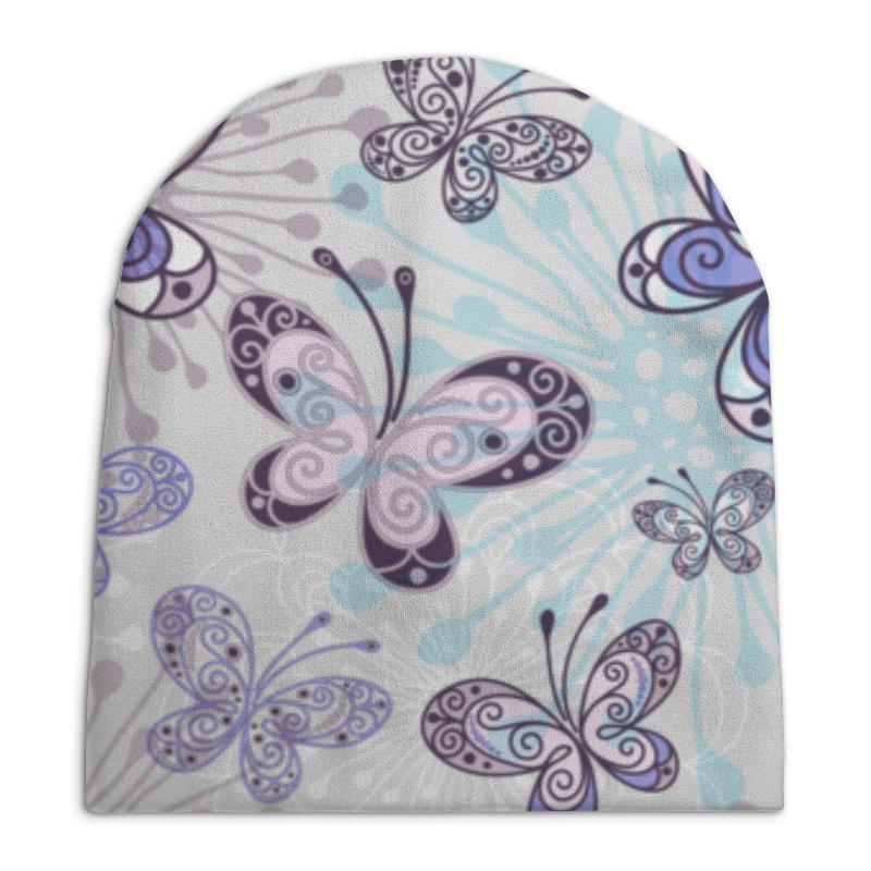 Шапка унисекс с полной запечаткой Printio Фиолетовые бабочки