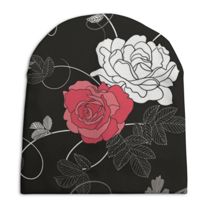 Шапка унисекс с полной запечаткой Printio Красная и белая розы платье без рукавов printio розы на чёрном