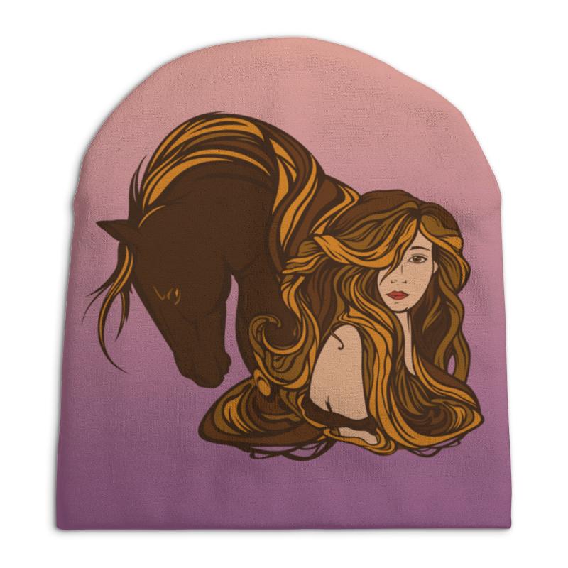 Шапка унисекс с полной запечаткой Printio Девушка и лошадь рюкзак с полной запечаткой printio девушка и лошадь
