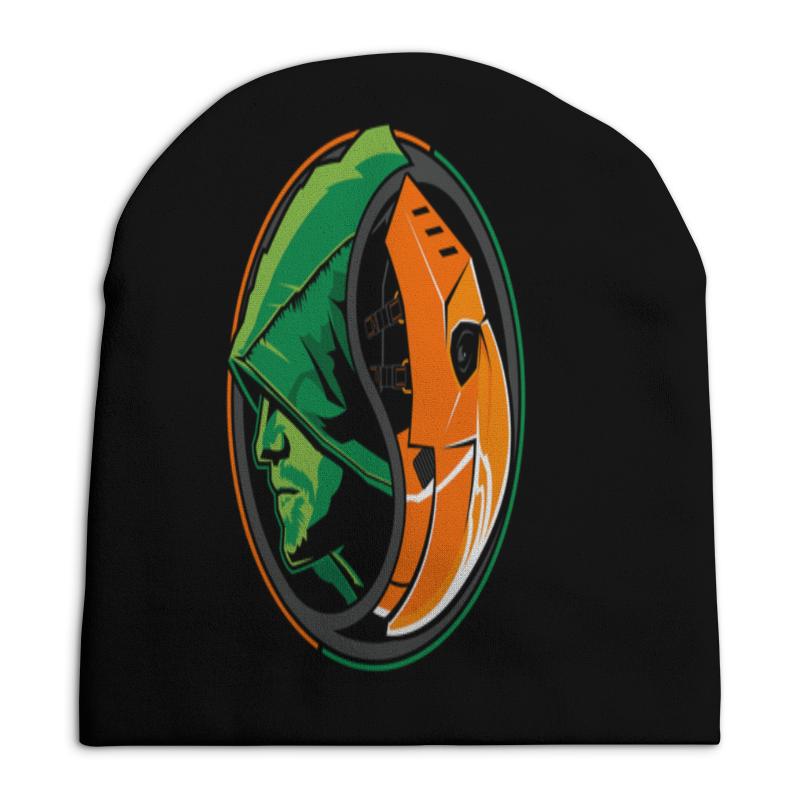 Шапка унисекс с полной запечаткой Printio Зеленая стрела и дефстроук зеленая шапка