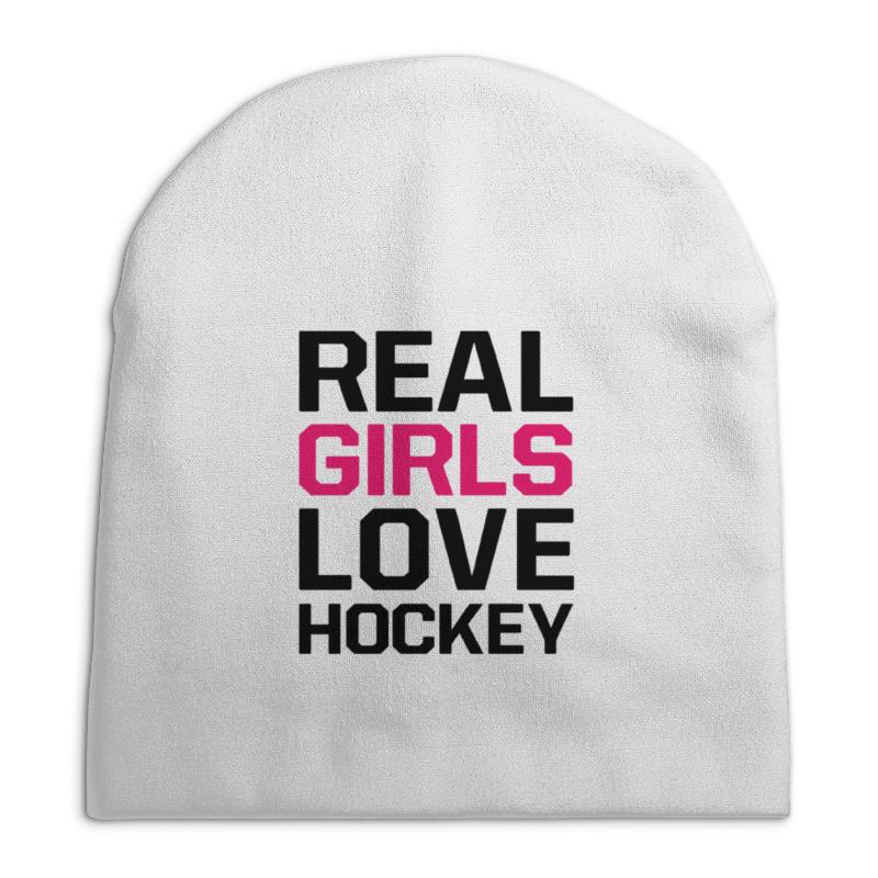 Шапка унисекс с полной запечаткой Printio Реальные девушки любят хоккей
