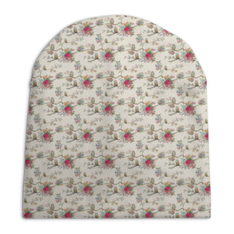 Шапка унисекс с полной запечаткой Printio Floral owl pair of sweet night owl and floral shape rhinestone decorated earrings for women