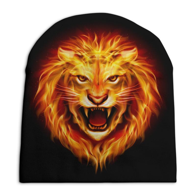 цена Шапка унисекс с полной запечаткой Printio Огненный лев