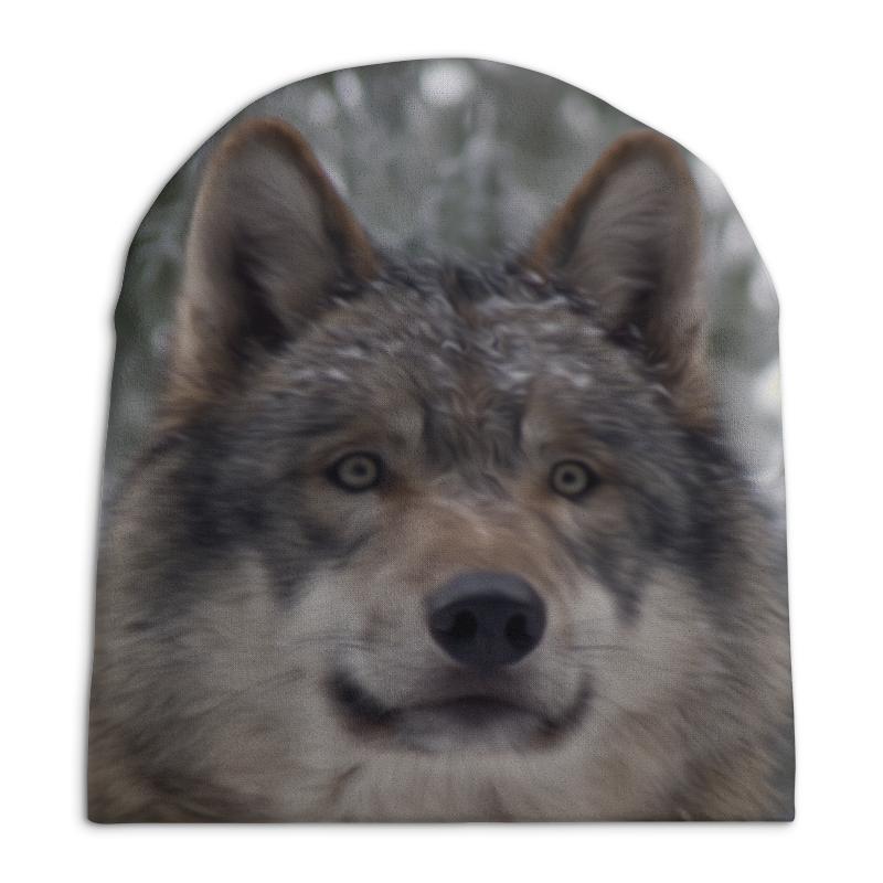 Шапка унисекс с полной запечаткой Printio Волк в лесу сумка с полной запечаткой printio лось в лесу