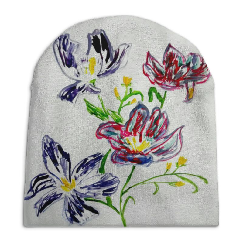 Шапка унисекс с полной запечаткой Printio Лиловые цветы