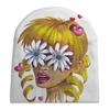 """Шапка унисекс с полной запечаткой """"Без ума от цветов"""" - любовь, девушка, цветы, сердца, блондинка"""