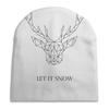 """Шапка унисекс с полной запечаткой """"Dear Deer"""" - рисунок, дизайн, олень, минимализм, рога"""