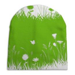 """Шапка унисекс с полной запечаткой """"Летняя трава"""" - бабочки, лето, цветы, трава, стрекозы"""