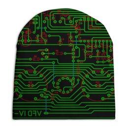 """Шапка унисекс с полной запечаткой """"Печатная плата"""" - электрика, электроника, печатная плата, технологии, микросхема"""