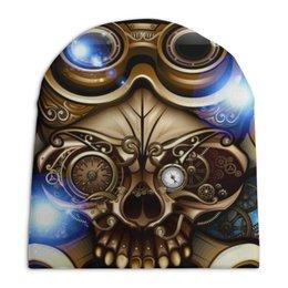 """Шапка унисекс с полной запечаткой """"Стимпанк-череп"""" - череп, очки, дизайн, стимпанк, гаечный ключ"""