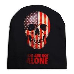 """Шапка унисекс с полной запечаткой """"Череп"""" - череп, америка, кости, надписи, флаг"""