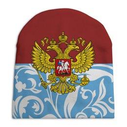 """Шапка унисекс с полной запечаткой """"Цветы и герб"""" - цветы, россия, герб, орел, хохлома"""
