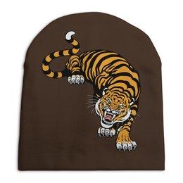 """Шапка унисекс с полной запечаткой """"Свирепый тигр"""" - тигр, животное"""