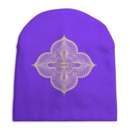"""Шапка унисекс с полной запечаткой """" Собор"""" - узор, клевер, крест, гильош, епископ"""